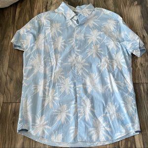 Express slim soft wash short sleeve blue shirt